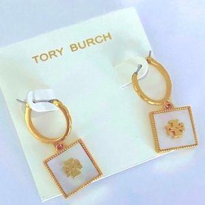 Tory Burch white & gold square drop earrings